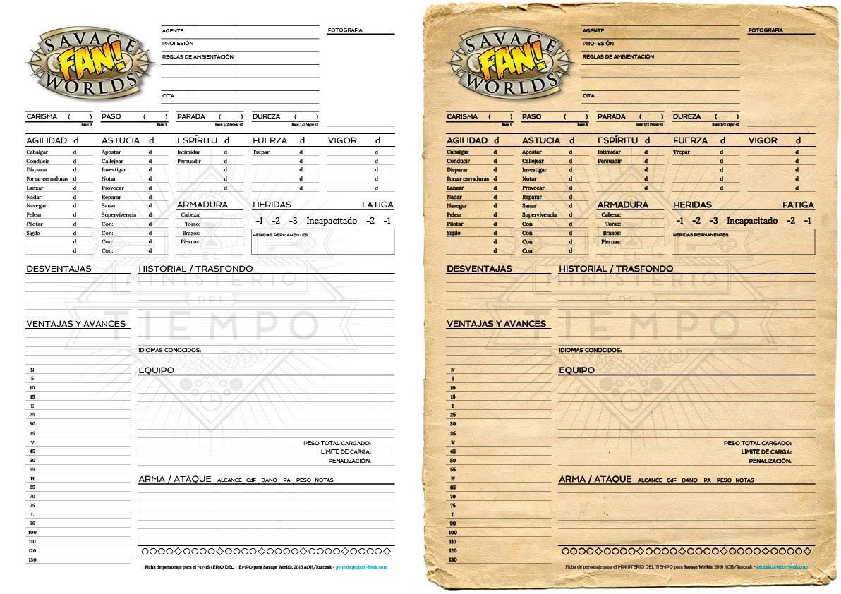 las hojas de personaje del Ministerio del tiempo para Savage Worlds en versiones printer friendly y printer fucker.